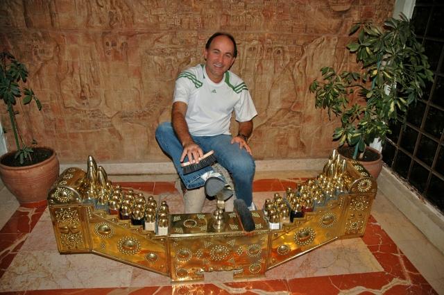 Caixa de engraxate típica da Turquia no hotel de Ürgüp.