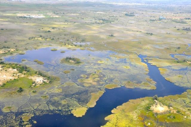 As grandes áreas alagadas do Delta do Okavango