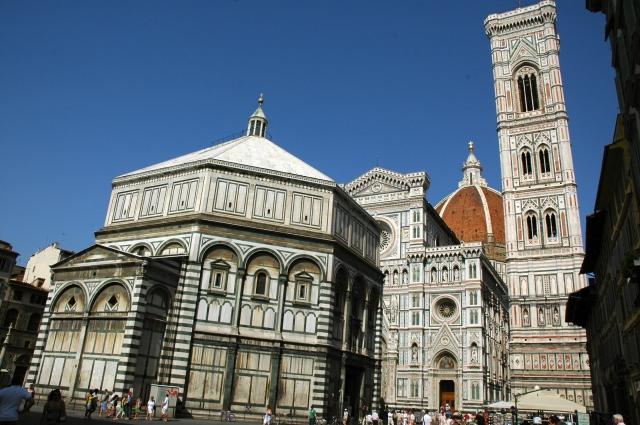 O Conjunto do batistério, duomo e campanário de Florença.