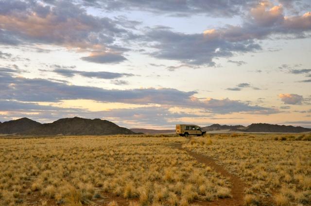 O amanhecer no Deserto da Namíbia