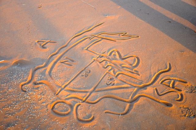 O mapa desenhado na areia para explicar o caminho até Sossusvlei