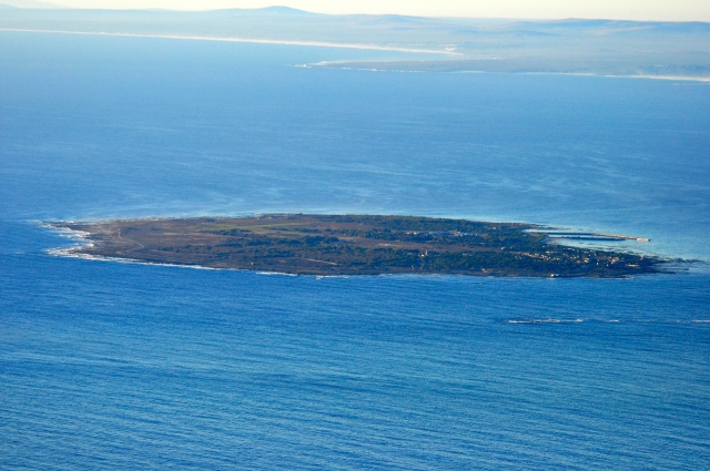 A Ilha de Robben na Baía do Cabo.