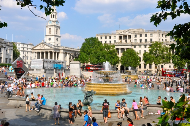 A Trafalgar Square lotada por causa das Olimpíadas