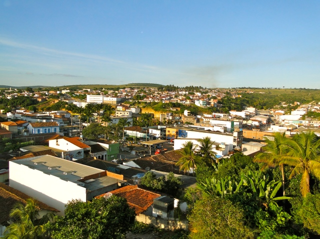 Vista panorâmica da cidade de Jaguaquara na Bahia.