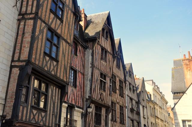 As casas de madeirame no centro medieval de Tours