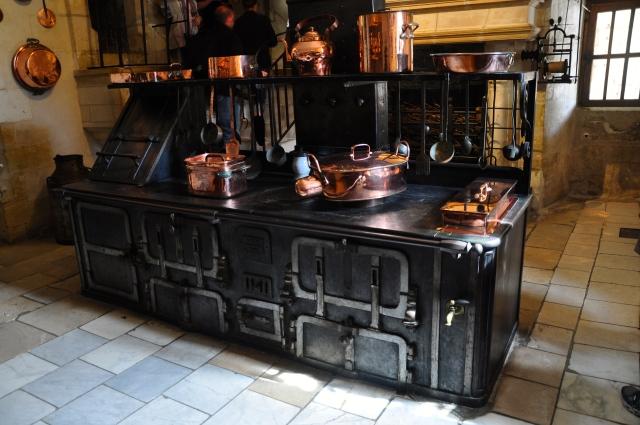 Detalhes da cozinha do Palácio Chenonceau.