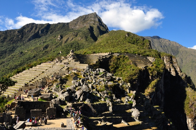 A trilha Inca chega pela Porta do Sol.