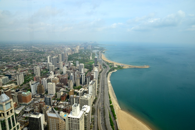 Vista panorâmica de Chicago e do Lago Michigan.