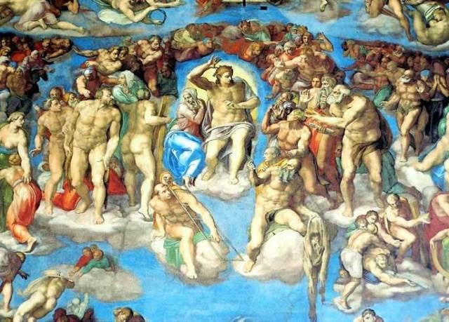 Detalhes de O Juizo Final de Michelangelo na Capela Sistina