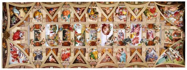 O teto da Capela Sistina pintado por Michelangelo.