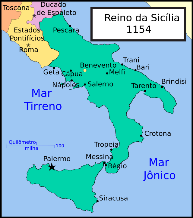 Mapa do Estreito de Messina