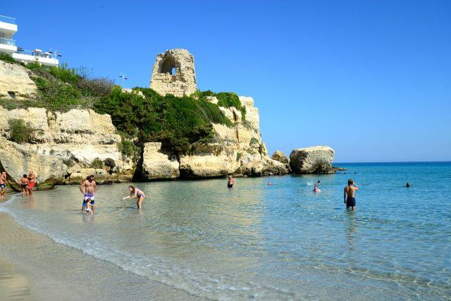 Praia em Torre dell'Orso.