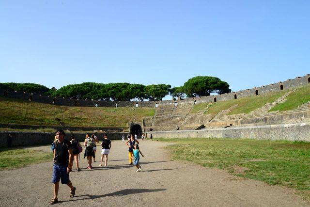 O anfiteatro romano de Pompeia