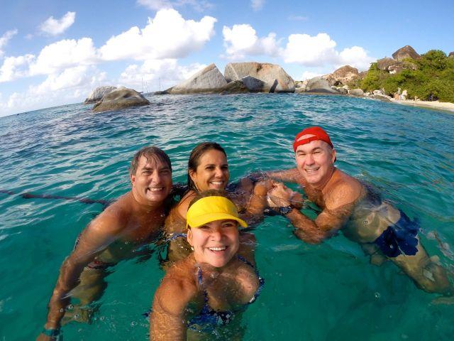 O nosso grupo nas águas do Caribe