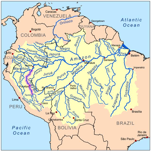 Os Rios Ucayali e Marañon se juntam para formar o Solimões.