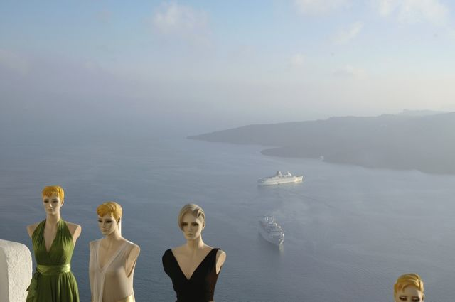 Terraços de Santorini.