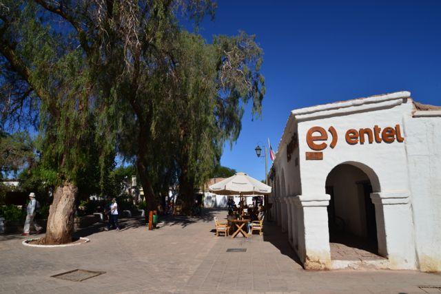 A praça principal de San Pedro de Atacama
