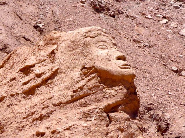 A cabeça esculpida na pedra em Pukara de Quitor.