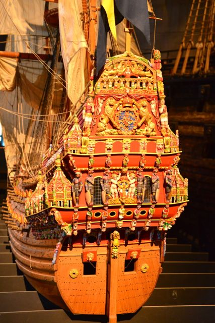 A decoração do Barco Vasa era exuberante.