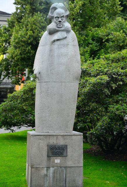 Estátua em homenagem a Henrik Ibsen.